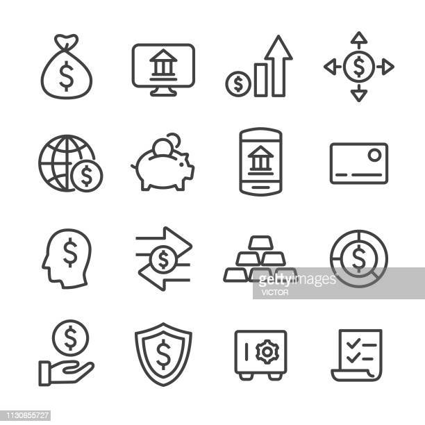 finance and banking icons - line series - exchanging stock illustrations
