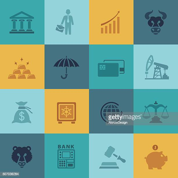 finance and banking icons - bull market stock illustrations, clip art, cartoons, & icons