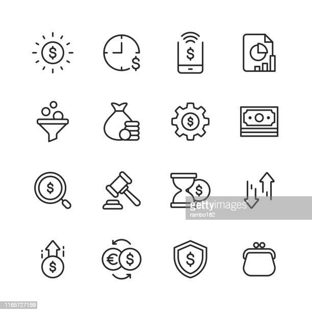 illustrazioni stock, clip art, cartoni animati e icone di tendenza di finance and banking line icons. editable stroke. pixel perfect. for mobile and web. contains such icons as money, finance, banking, coins, chart, online payments, savings, currency exchange, purse. - investimento