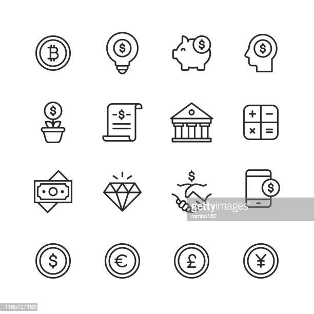 finance and banking line icons. editable stroke. pixel perfect. for mobile and web. contains such icons as money, finance, banking, coins, chart, crytpocurrency, bitcoin, piggy bank, bank, diamond. - condition stock illustrations