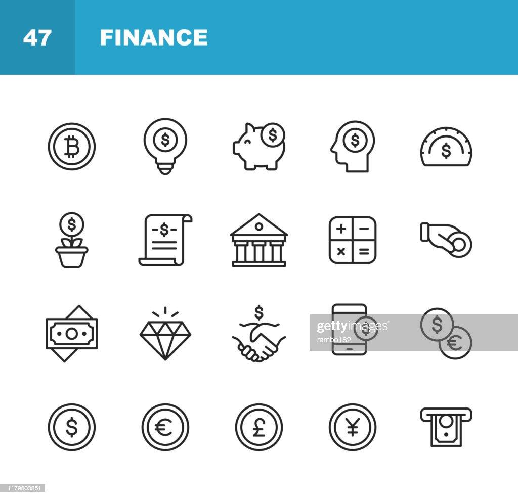 ファイナンスと銀行のラインアイコン。編集可能なストローク。ピクセルパーフェクト。モバイルとウェブ用。お金、金融、銀行、コイン、チャート、クレットポ通貨、ビットコイン、ピギ� : ストックイラストレーション