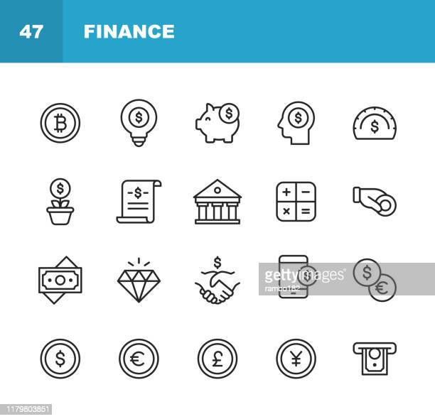 finance and banking line icons. editable stroke. pixel perfect. for mobile and web. contains such icons as money, finance, banking, coins, chart, crytpocurrency, bitcoin, piggy bank, bank, diamond. - cryptocurrency stock illustrations