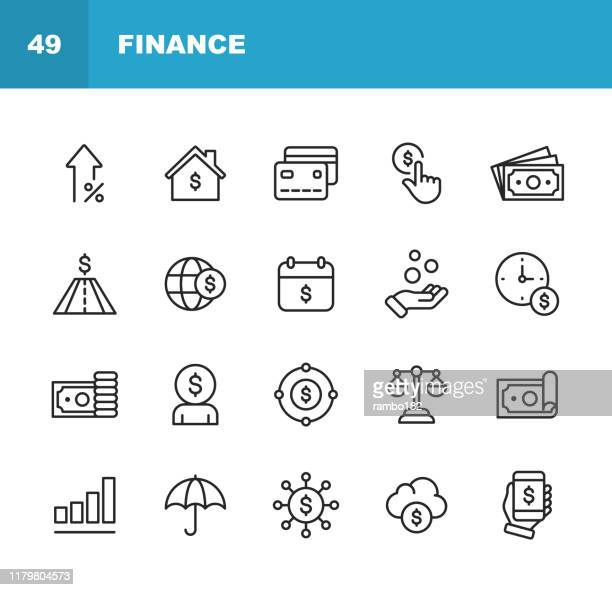 finance and banking line icons. editable stroke. pixel perfect. for mobile and web. contains such icons as money, finance, banking, coins, chart, real estate, personal finance, insurance, balance, global finance. - condition stock illustrations