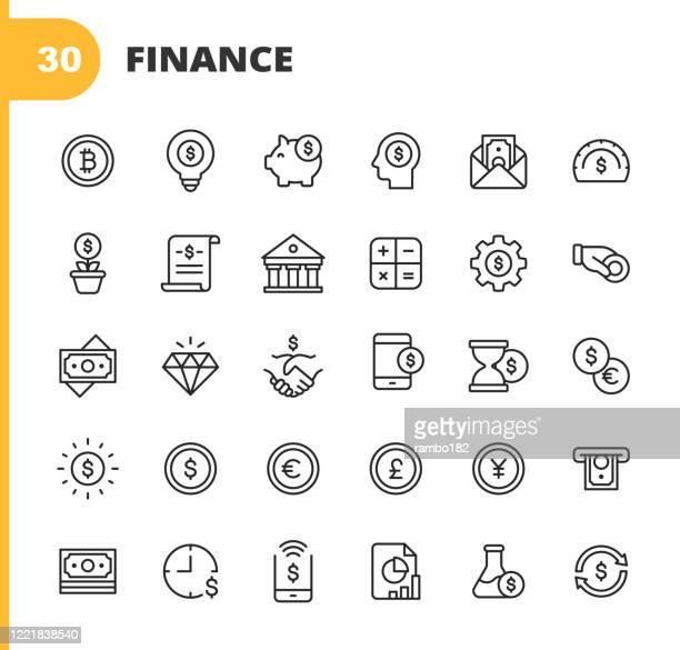 finance und banking line icons. bearbeitbarer strich. pixel perfekt. für mobile und web. enthält symbole wie geld, finanzen, banking, münze, diagramm, kryptowährung, bitcoin, piggy bank, bank, diamond, geldautomat, dollar, aktienmarkt, investment, bank - bankgeschäft stock-grafiken, -clipart, -cartoons und -symbole