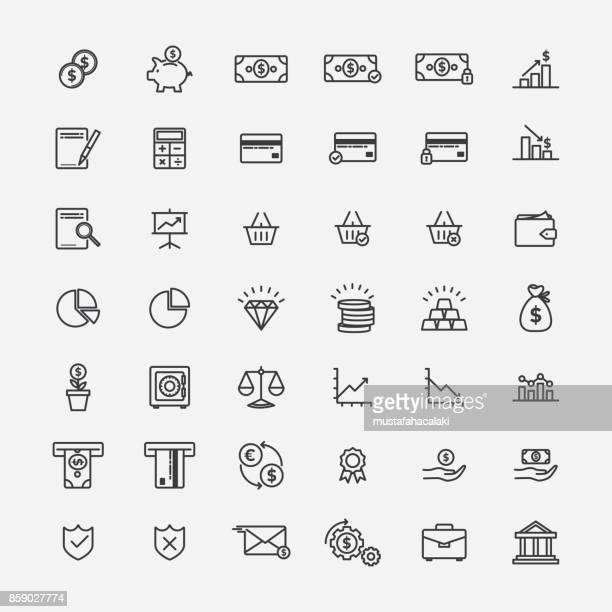 ilustraciones, imágenes clip art, dibujos animados e iconos de stock de los iconos de lineart de banca y finanzas - ahorros