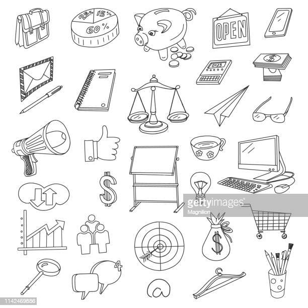 finance and business doodles set - note pad stock illustrations
