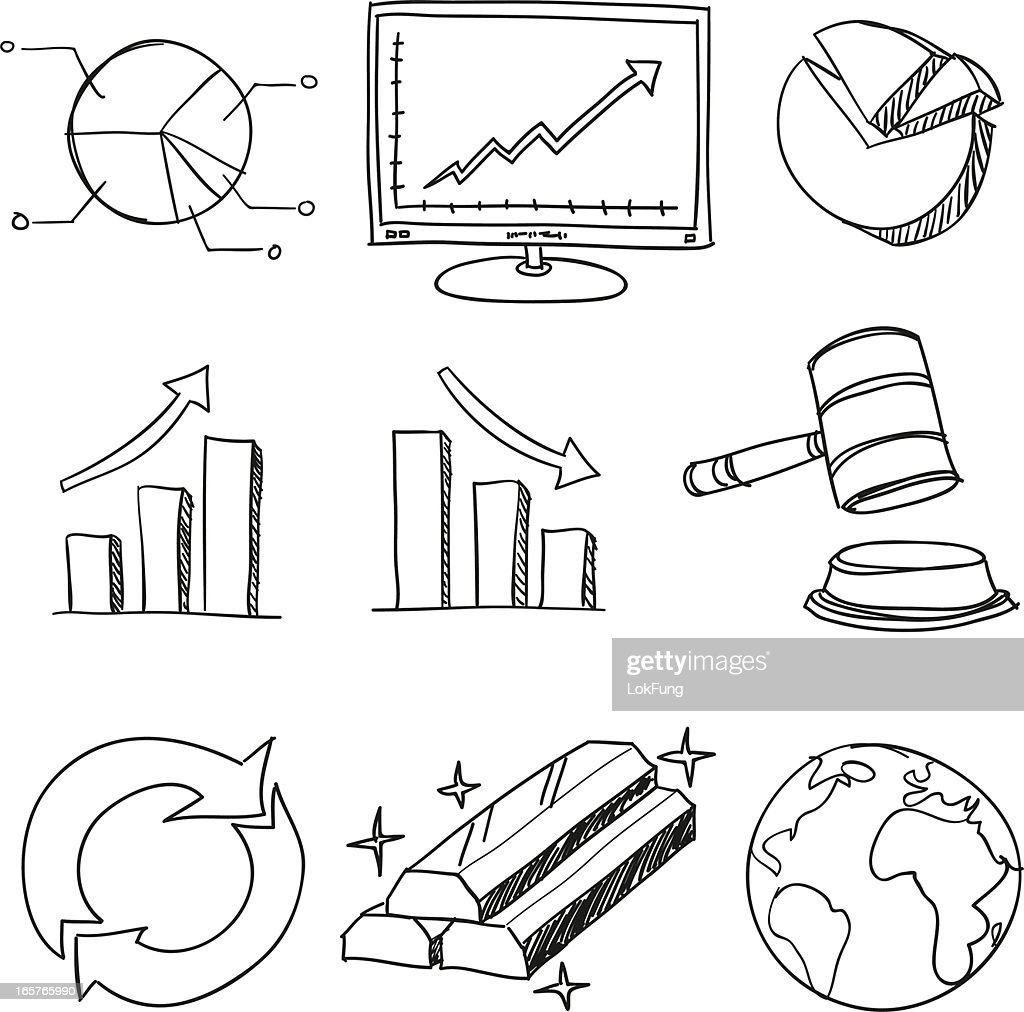 Finance and business symbol in black white