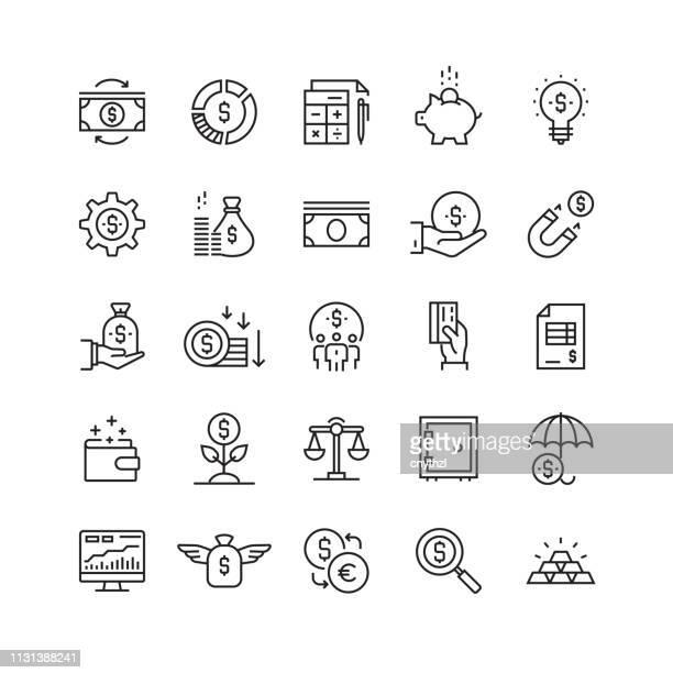 金融・経済関連ベクターラインアイコン - クラウドソーシング点のイラスト素材/クリップアート素材/マンガ素材/アイコン素材