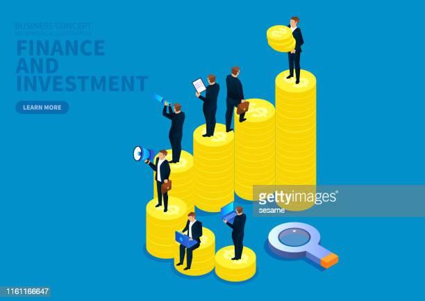 illustrazioni stock, clip art, cartoni animati e icone di tendenza di finance and investment, a group of businessmen on a heap of gold coins - attività bancaria
