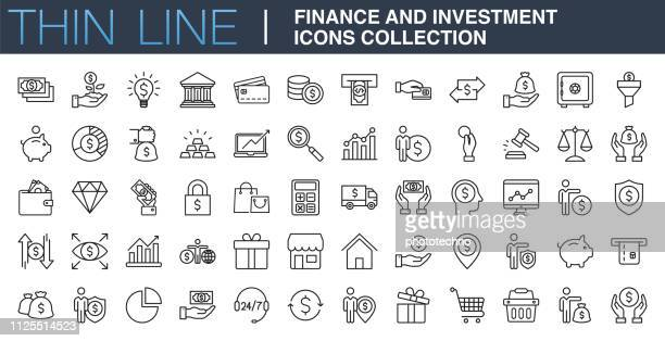 finance and investment icons collection - economy stock illustrations