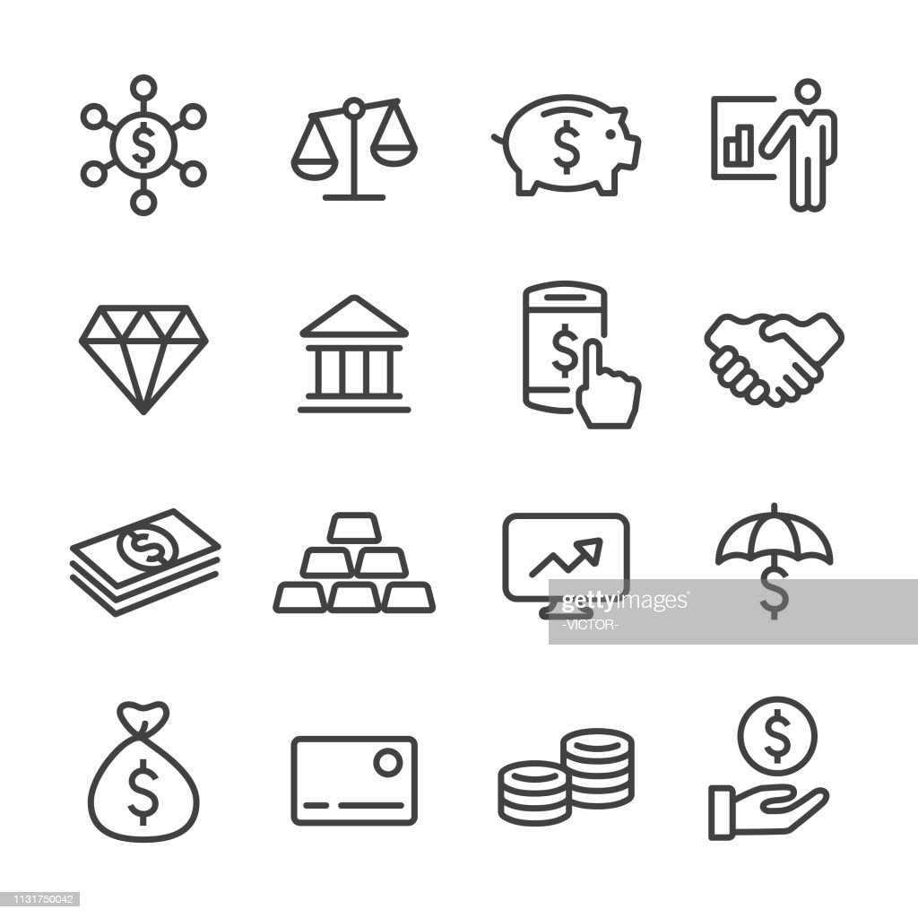 Finance and Investment Icons - Line Series : Stock Illustration