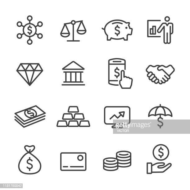 finance and investment icons - line series - money bag stock illustrations