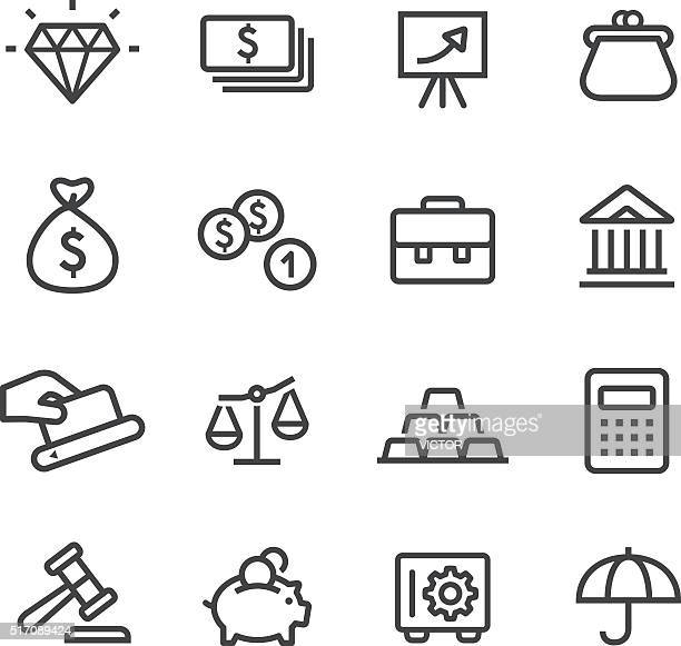 finance and investment icons - line series - gold purse stock illustrations