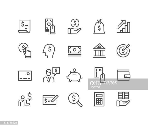 finance and money icons - classic line series - stock trader stock illustrations