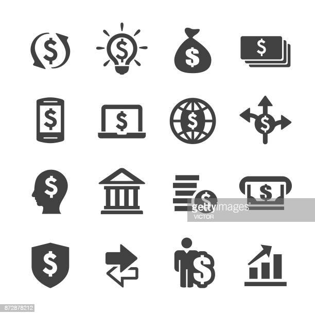 finance and money icons set - acme series - dollar sign stock illustrations, clip art, cartoons, & icons