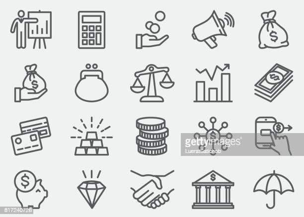 finance and money line icons - money bag stock illustrations