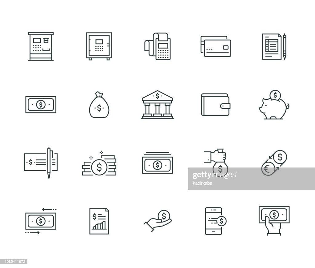 Finanzen und Geld Thin Line Serie : Stock-Illustration