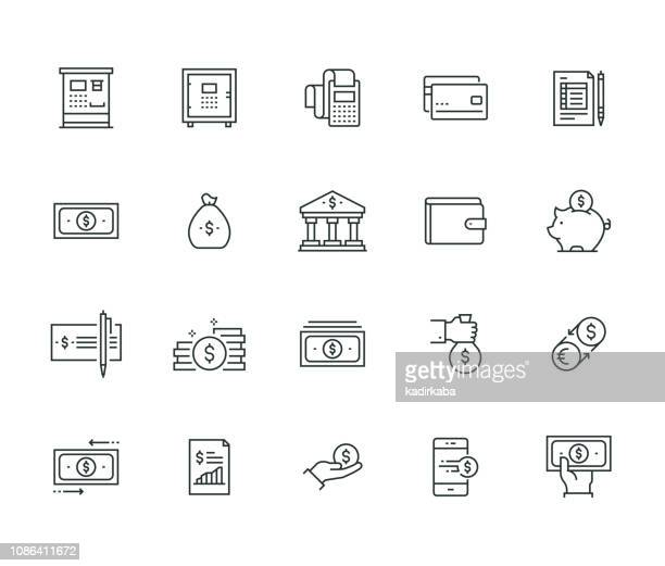 finance and money thin line series - us paper currency stock illustrations, clip art, cartoons, & icons