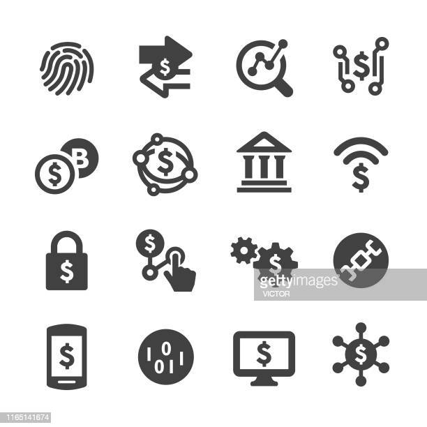 finance and technology icons - acme series - cryptocurrency stock illustrations