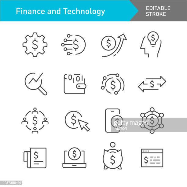 finance and technology icons - line series - editable stroke - financial technology stock illustrations