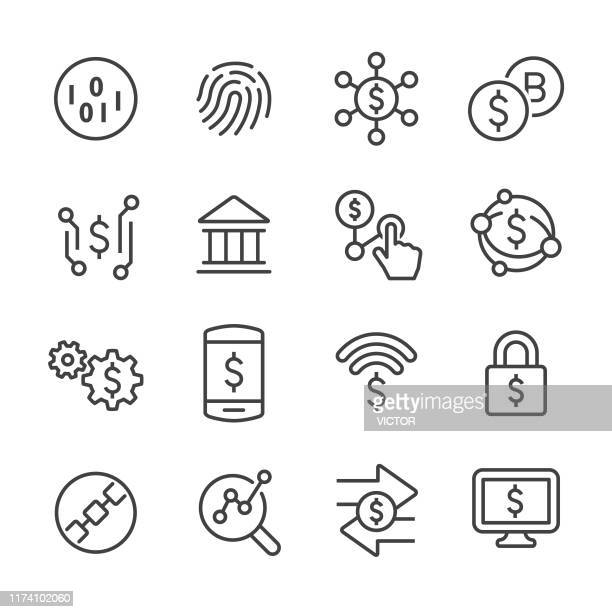 finance and technology icons - line series - cryptocurrency stock illustrations
