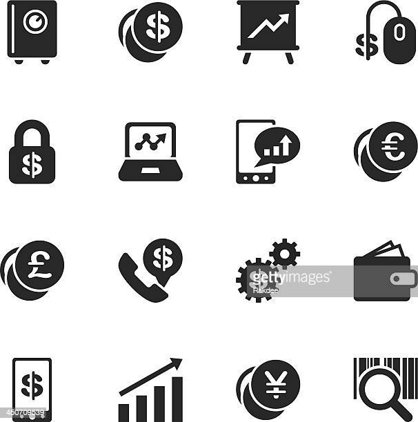 Finance and Trading Silhouette Icons