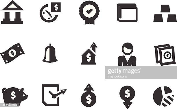 finance banking icons - american one dollar bill stock illustrations, clip art, cartoons, & icons