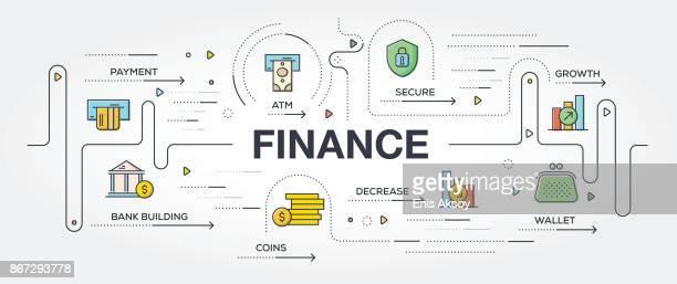 ilustrações, clipart, desenhos animados e ícones de ícones e finanças banner - tempo é dinheiro