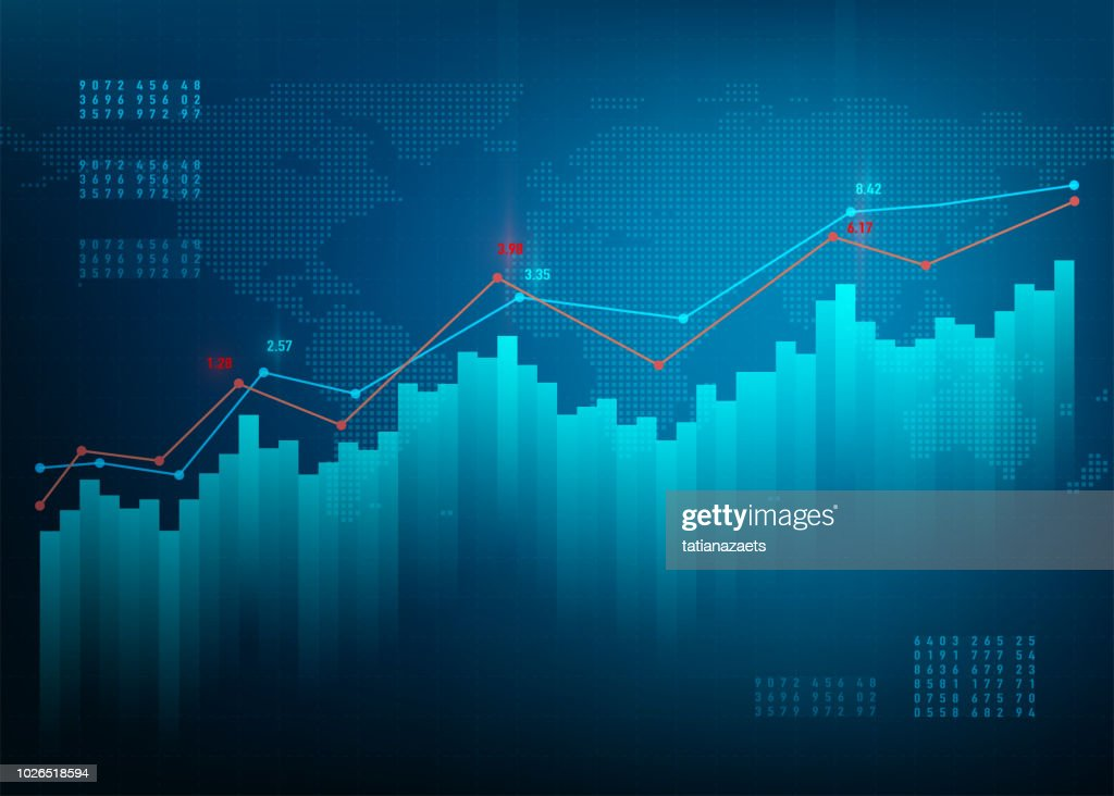 Finance chart. Stock graph market. Growth business blue vector background. Bond data online bank