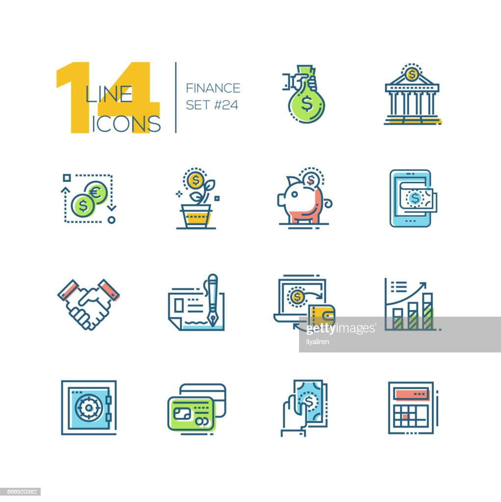 Finance - colored modern single line icons set