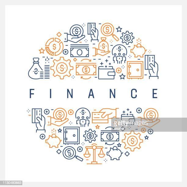 金融コンセプト - カラフルなライン アイコン配置円 - クラウドソーシング点のイラスト素材/クリップアート素材/マンガ素材/アイコン素材