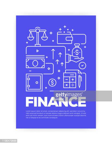 Finance Concept Line Style Cover Design for Annual Report, Flyer, Brochure.