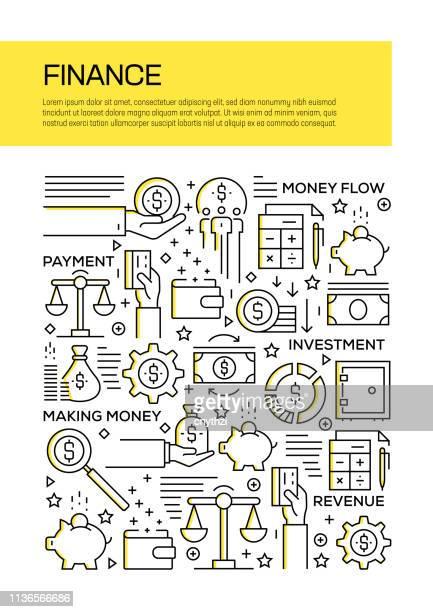 finance concept line style cover design für geschäftsbericht, flyer, broschüre. - jährliches ereignis stock-grafiken, -clipart, -cartoons und -symbole