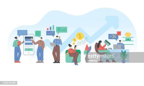 illustrazioni stock, clip art, cartoni animati e icone di tendenza di concetto di finanza - attività bancaria