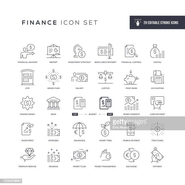 finance editable stroke line icons - rechnungswesen stock-grafiken, -clipart, -cartoons und -symbole