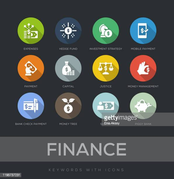 finance flat design icon set - long shadow shadow stock illustrations
