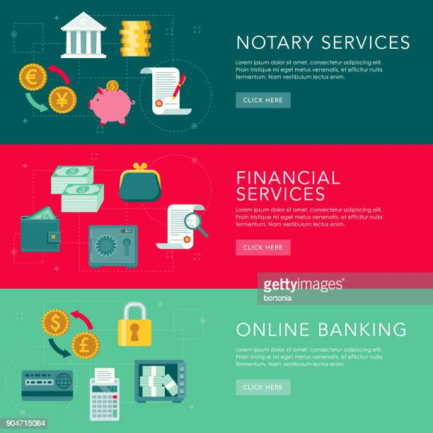 Finance Flat Design Web Banners Set