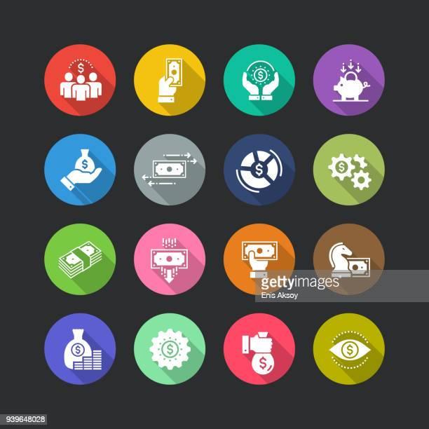 finance flat icon set - accountancy stock illustrations, clip art, cartoons, & icons