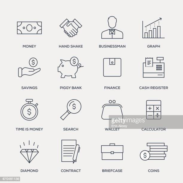 finance icon set - line series - paper currency stock illustrations, clip art, cartoons, & icons