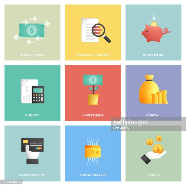 finance icon set - financial technology stock illustrations, clip art, cartoons, & icons