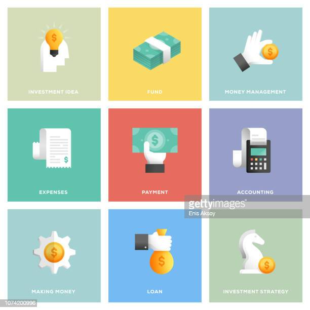 finance icon set - stock certificate stock illustrations
