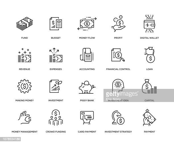 finance icon set - finance stock illustrations