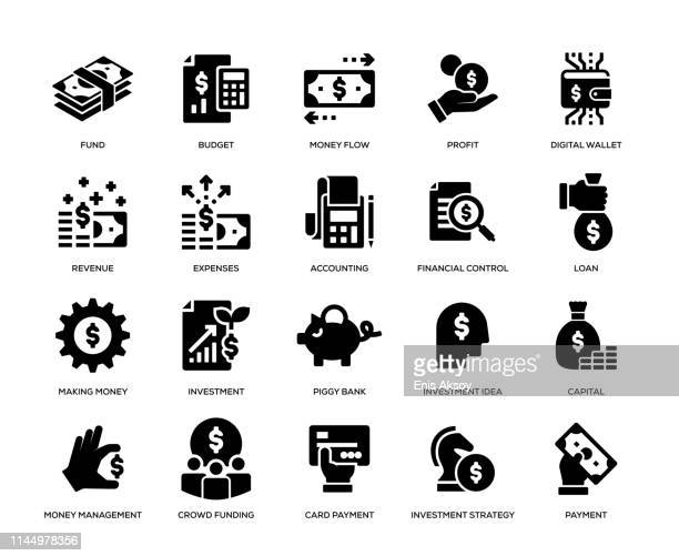 finance icon set - cash flow stock illustrations, clip art, cartoons, & icons