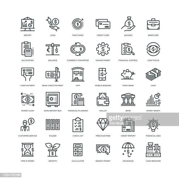 ilustraciones, imágenes clip art, dibujos animados e iconos de stock de conjunto de iconos financieros - fajo de billetes