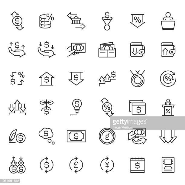 finance icon set - moving down stock illustrations