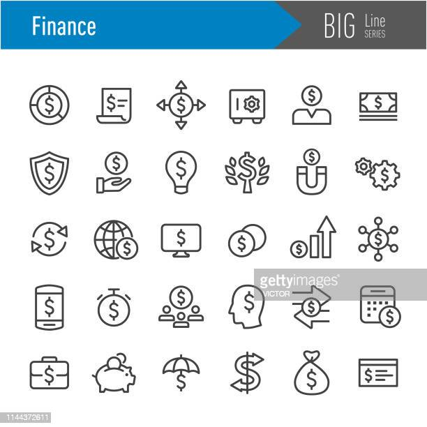 finance icons - big line series - stock certificate stock illustrations