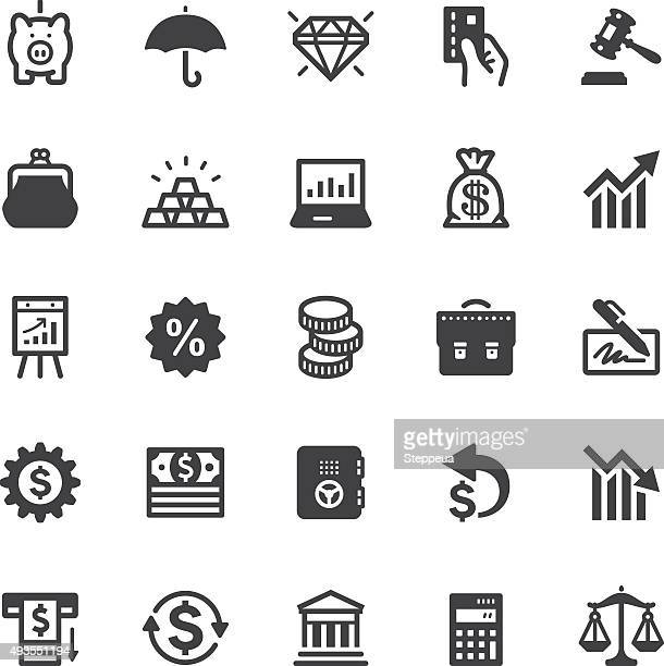 finance icons - black series - bid stock illustrations