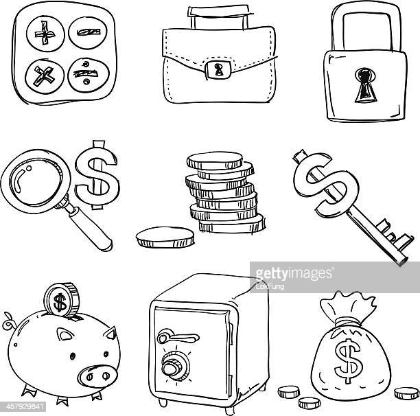 Finance icons in black white