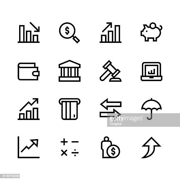 Finance icons - line - black series