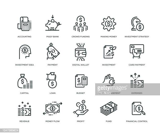 finance icons - line series - money bag stock illustrations